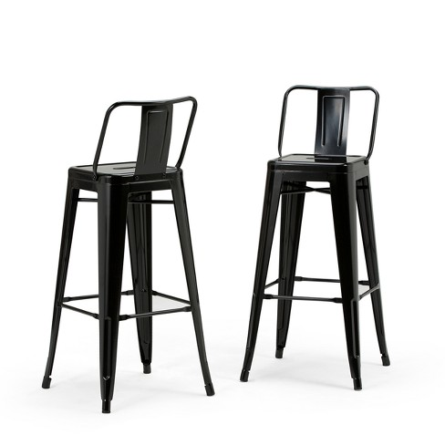 Miraculous 30 Set Of 2 Josephine Metal Bar Stool Black Wyndenhall Pabps2019 Chair Design Images Pabps2019Com