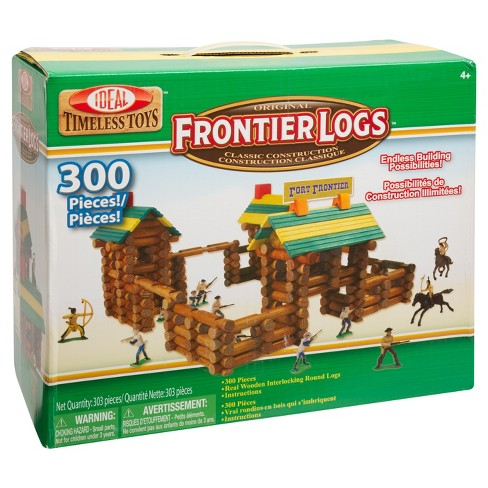 Ideal Frontier Logs Classic All Wood Construction Set with Action Figures - 300 Piece - image 1 of 6