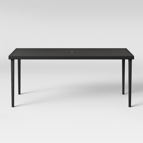 Groovy Fairmont Steel Patio Dining Table Black Threshold Bralicious Painted Fabric Chair Ideas Braliciousco