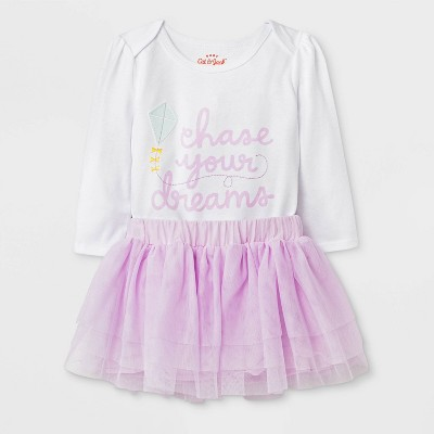 Baby Girls' Long Sleeve Bodysuit and Mesh Tutu Set - Cat & Jack™ Purple Newborn