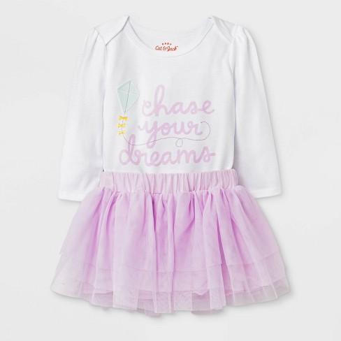 05e850fb6ec0 Baby Girls  Long Sleeve Bodysuit And Mesh Tutu Set - Cat   Jack ...