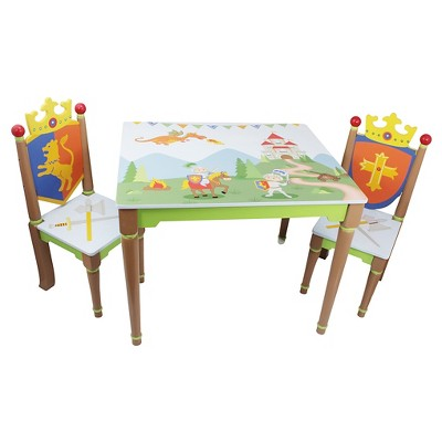 Knights & Dragons Table and Chairs Wood (Set of 2)- Teamson
