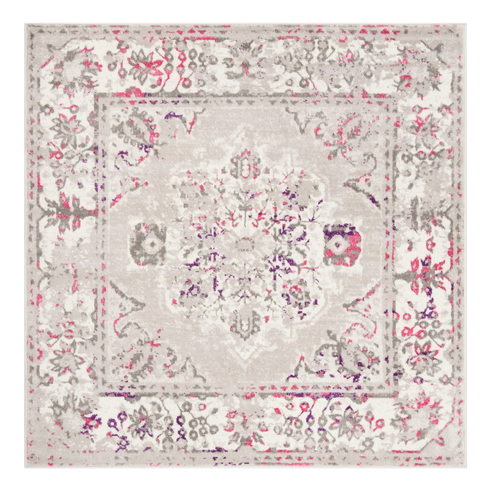 Gray/Pink Floral Loomed Square Area Rug 6'7