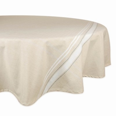 70 R Nautical French Stripe Tablecloth White - Design Imports