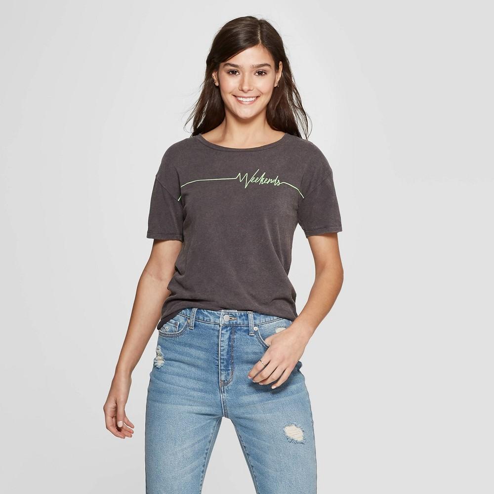 Women's Short Sleeve Crewneck Weekends Graphic T-Shirt - Fifth Sun (Juniors') - Black Xxl
