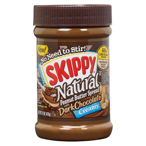Skippy® Natural Creamy Peanut Butter Spread w/ Dark Chocolate - 15oz - image 1 of 1