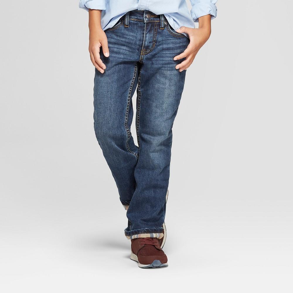 Boys' Flannel Lined Jeans - Cat & Jack Blue 14 Husky