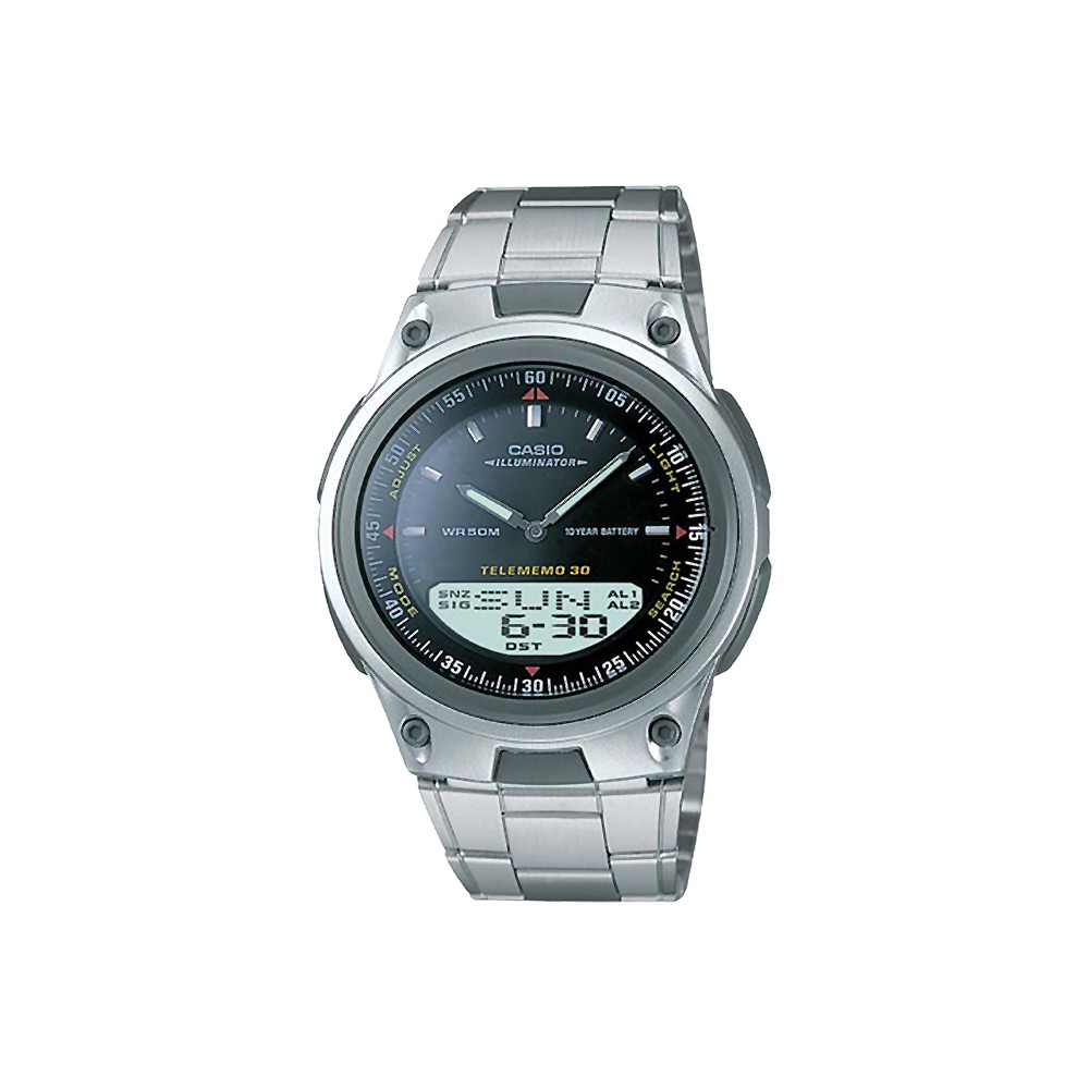 Men S Casio Analog And Digital Bracelet Watch Black Aw80d 1av