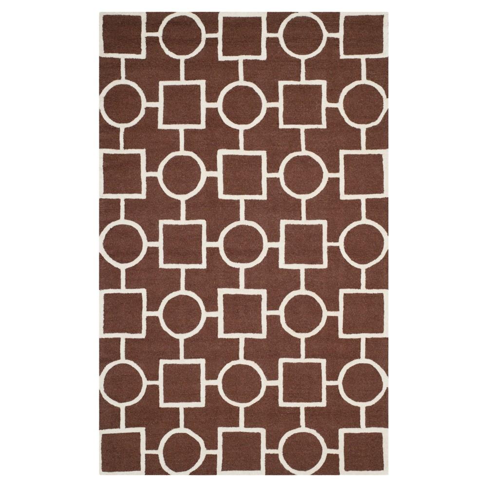 Sumner Texture Wool Rug - Dark Brown / Ivory (4' X 6') - Safavieh, Dark Brown/Ivory
