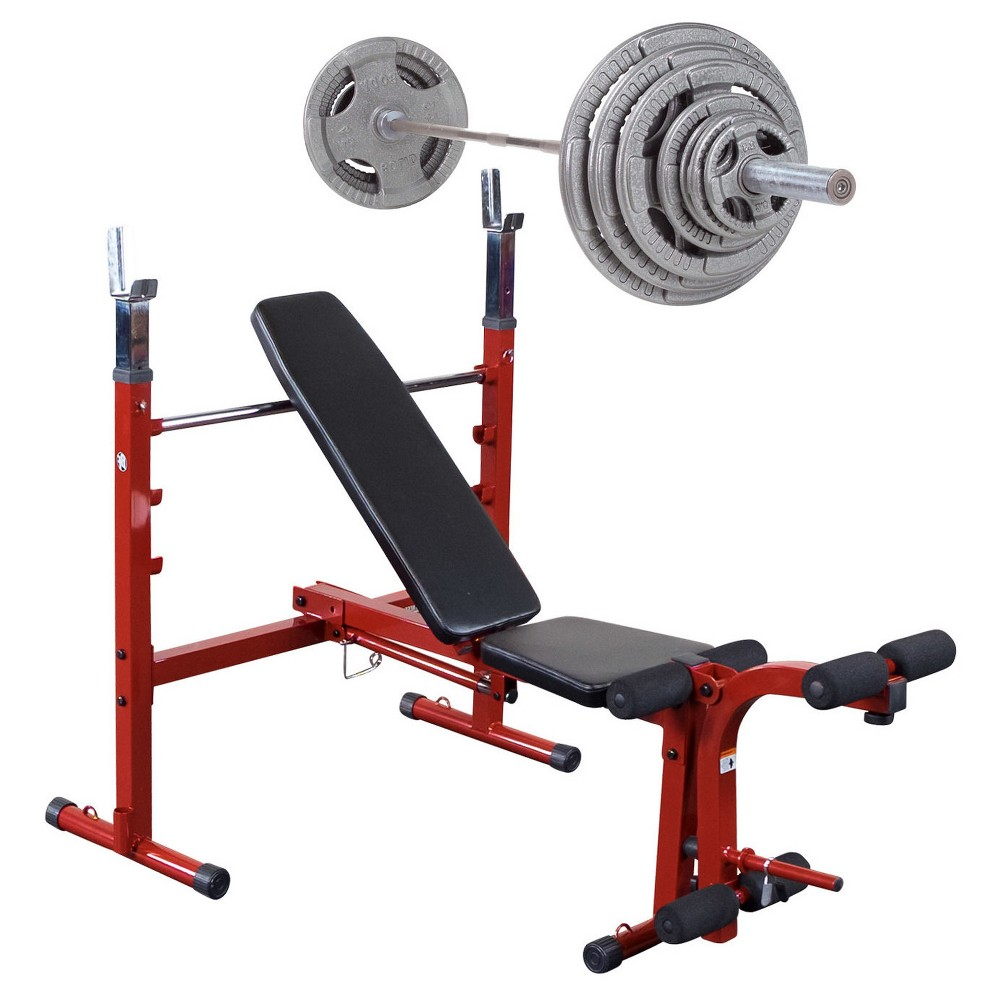 Best Fitness Weight Bench with 300LB Olympic Grip Handle Weight Set - (BFOB10 - OST300S), Multi-Colored