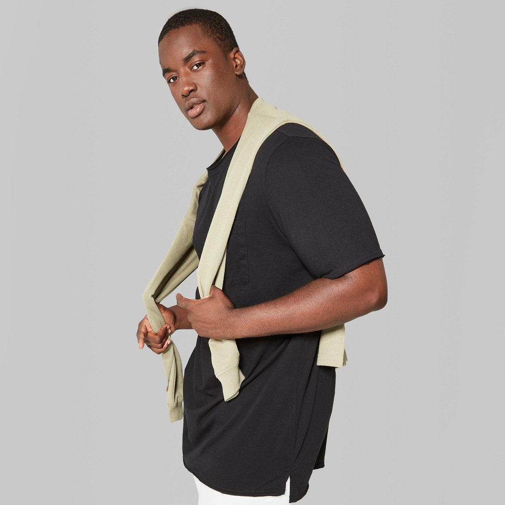 Men's Big & Tall Short Sleeve Long Line T-Shirt - Original Use Black 4XBT