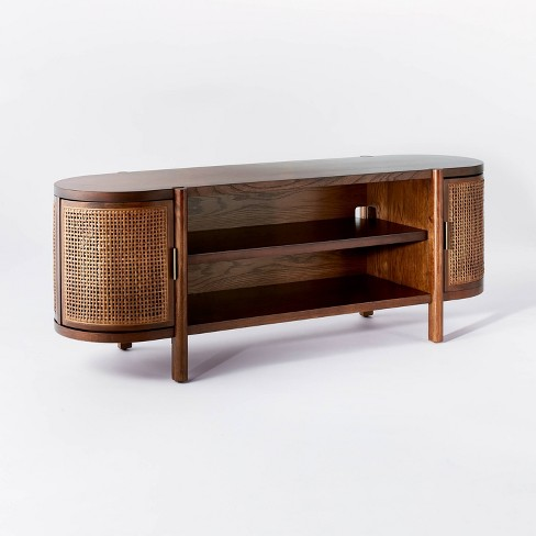 """Portola Hills Caned Door TV Stand for TV's up to 60"""" Walnut - Threshold™ designed with Studio McGee - image 1 of 4"""
