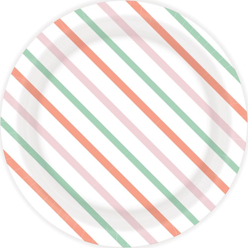 Image of 30ct Spring Stripe Snack Plates - Spritz, Multi-Colored