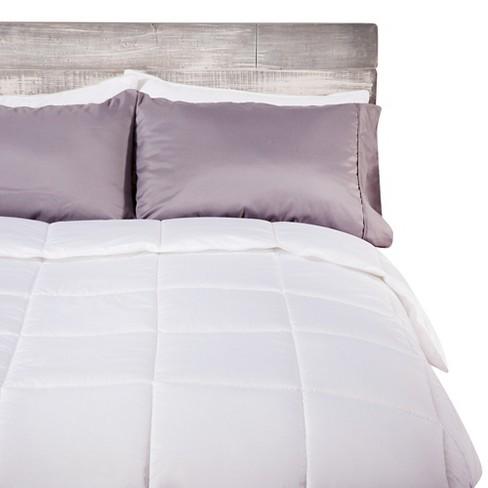Super Comforter Set Down Alternative Light Grey Solid Plain Weave Fabric Bedding