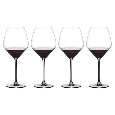 Riedel 27.16 Ounce Extreme Pinot Noir Clear Crystal Red Wine Glass Set for Light Bodied Red Wines with Tulip Shaped Bowl, Set of 4