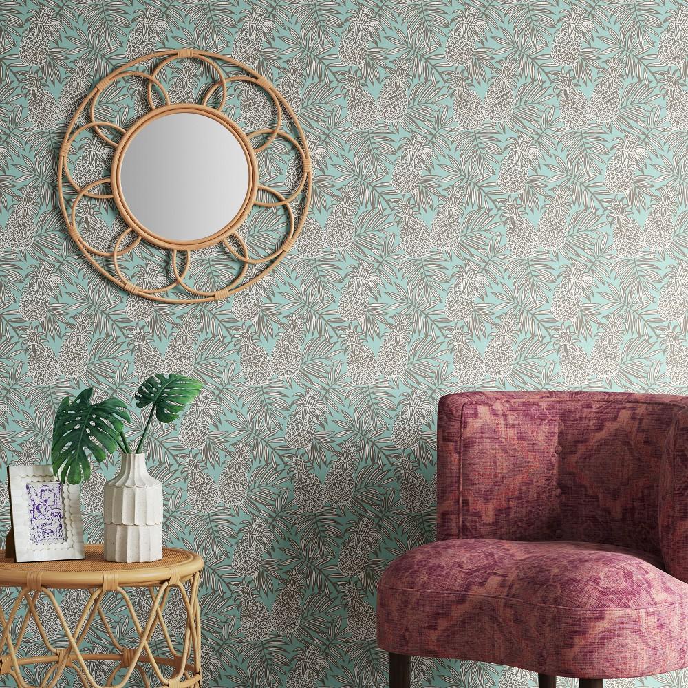 Pineapple Peel & Stick Removable Wallpaper Pale Mint Green - Opalhouse