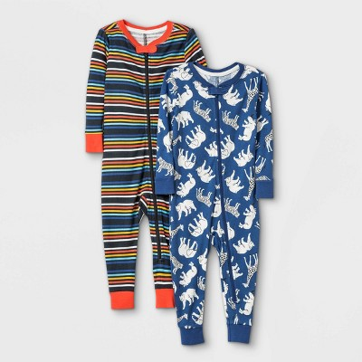 Toddler Boys' 2pk Safari Animals 100% Cotton Pajama Jumpsuit - Cat & Jack™ Gray