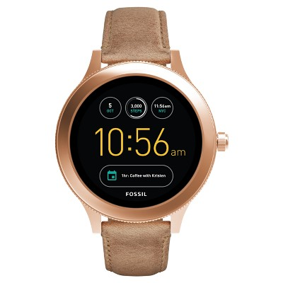 Fossil Gen 3 Smartwatch - Venture 45mm Rose Gold-Tone and Light Brown Leather