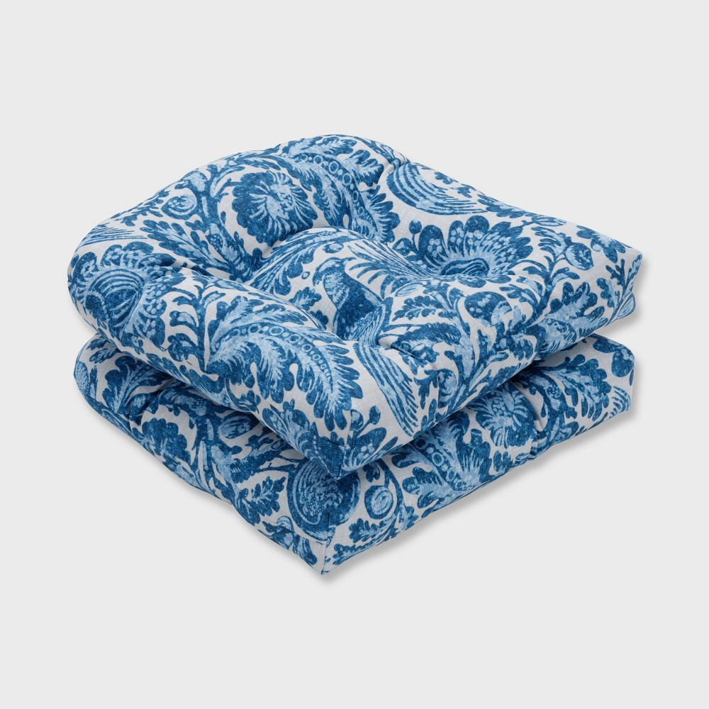2pk Tucker Resist Wicker Outdoor Seat Cushion Azure Blue - Pillow Perfect