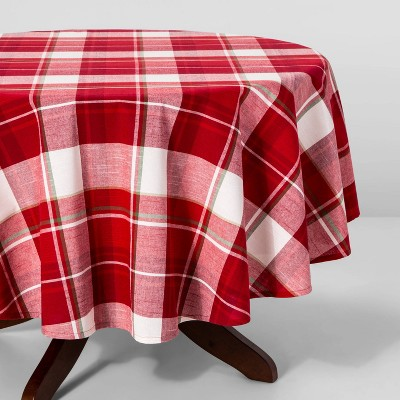 70  Round Holiday Plaid Round Tablecloth Red - Threshold™