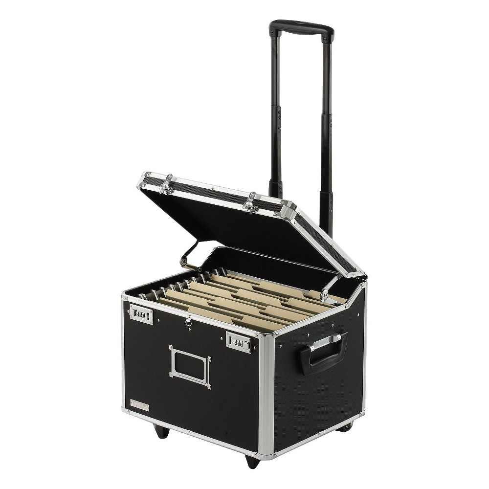 Vaultz Locking Mobile Wheelie Chest, Letter/Legal - Black, Black/Silver