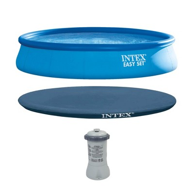 "Intex 15' x 33"" Easy Set Above Ground Swimming Pool, Filter Pump & Cover Tarp"