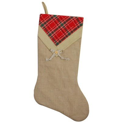 """Northlight 20.5"""" Beige and Red Plaid V-Cuff Christmas Stocking"""