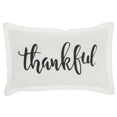 """12""""x20"""" 'Thankful' Lumbar Throw Pillow White - Kathy Ireland Home"""