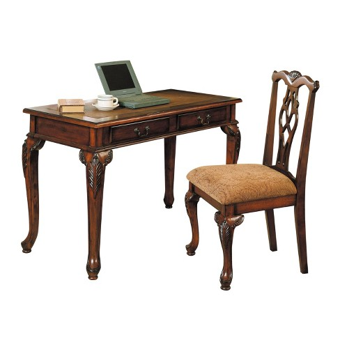 2pc Aristocrat Desk and Chair Dark Brown/Cherry - Acme - image 1 of 2