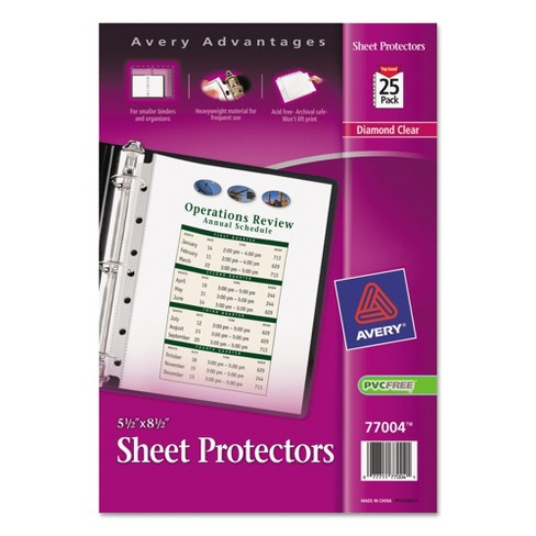 avery top load sheet protector heavyweight 8 5 x 5 5 clear 25 pk