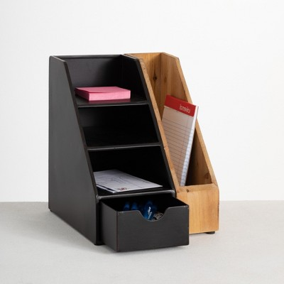 "Sullivans Upright Triple File Folder and Storage Desk Organizer 11""H Black"