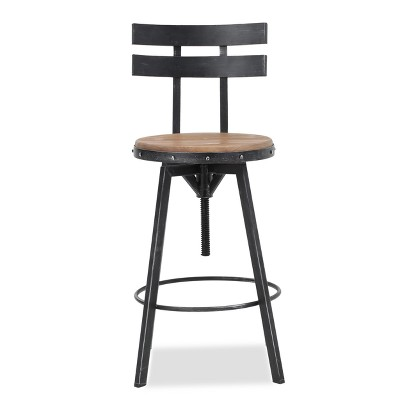 Jutte Smooth Back Barstool Black Brush Silver - Christopher Knight Home