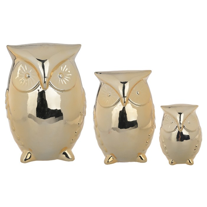 Decorative Gold Owls - Set of 3 - A&B Home - image 1 of 2