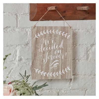 """We Decided On Forever"" Boho Wooden Sign"