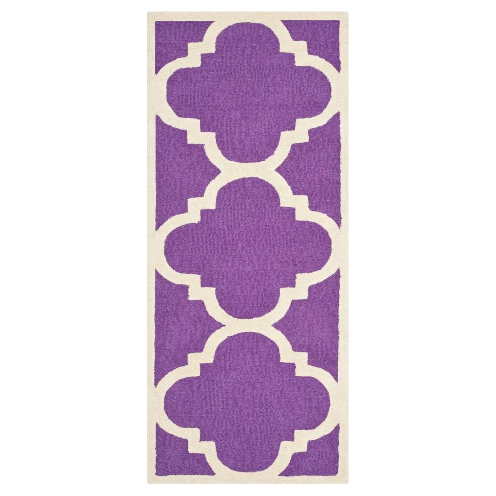 Landon Texture Wool Rug - Purple / Ivory (2'6 X 8') - Safavieh, Purple/Ivory