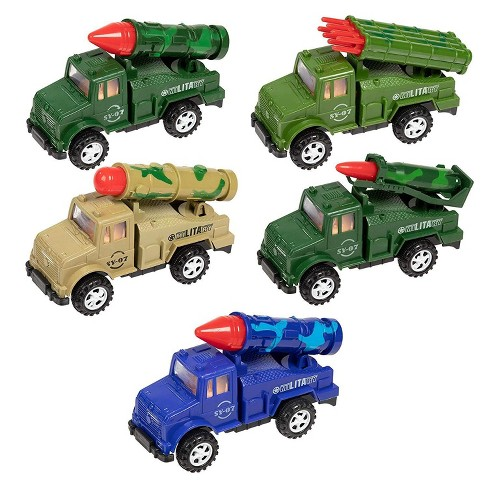 Juvale 5-Pack Boys Push and Go Military Toy Vehicle Trucks with Missile Launchers in Assorted Colors for Kids, 5 Inches - image 1 of 4
