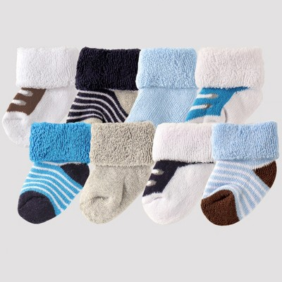Luvable Friends Baby Boys' 8pk Socks - Blue 0-6M