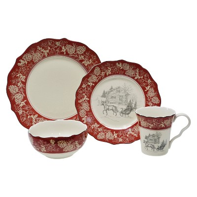 222 Fifth Andover 16pc Dinnerware Set White/Red