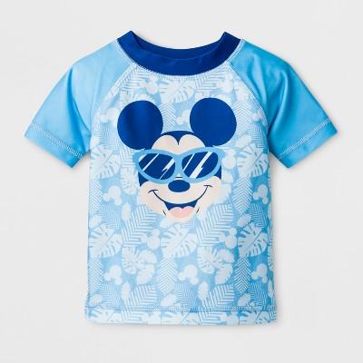 Baby Boys' Disney Mickey Mouse Short Sleeve Rash Guard - Turquoise 6-9M