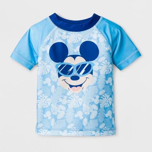 Baby Boys' Disney Mickey Mouse Short Sleeve Rash Guard - Turquoise - image 1 of 1