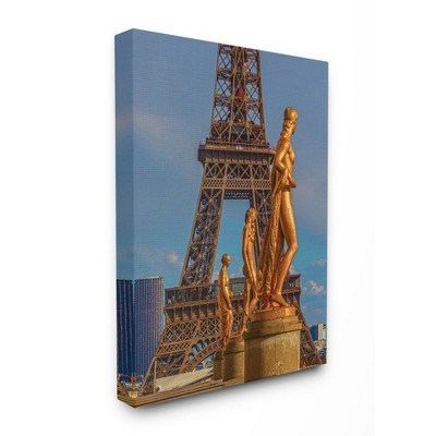 Stupell Industries Eiffel Tower Golden Statues Paris Photograph