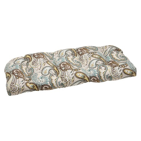 Outdoor Wicker Loveseat Cushion - Tamara Paisley - Pillow Perfect - image 1 of 3