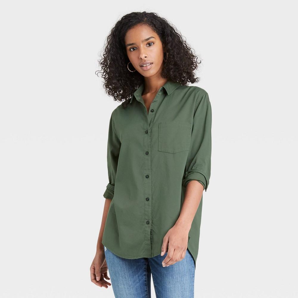 Women 39 S Long Sleeve Button Down Shirt Universal Thread 8482 Olive Green L