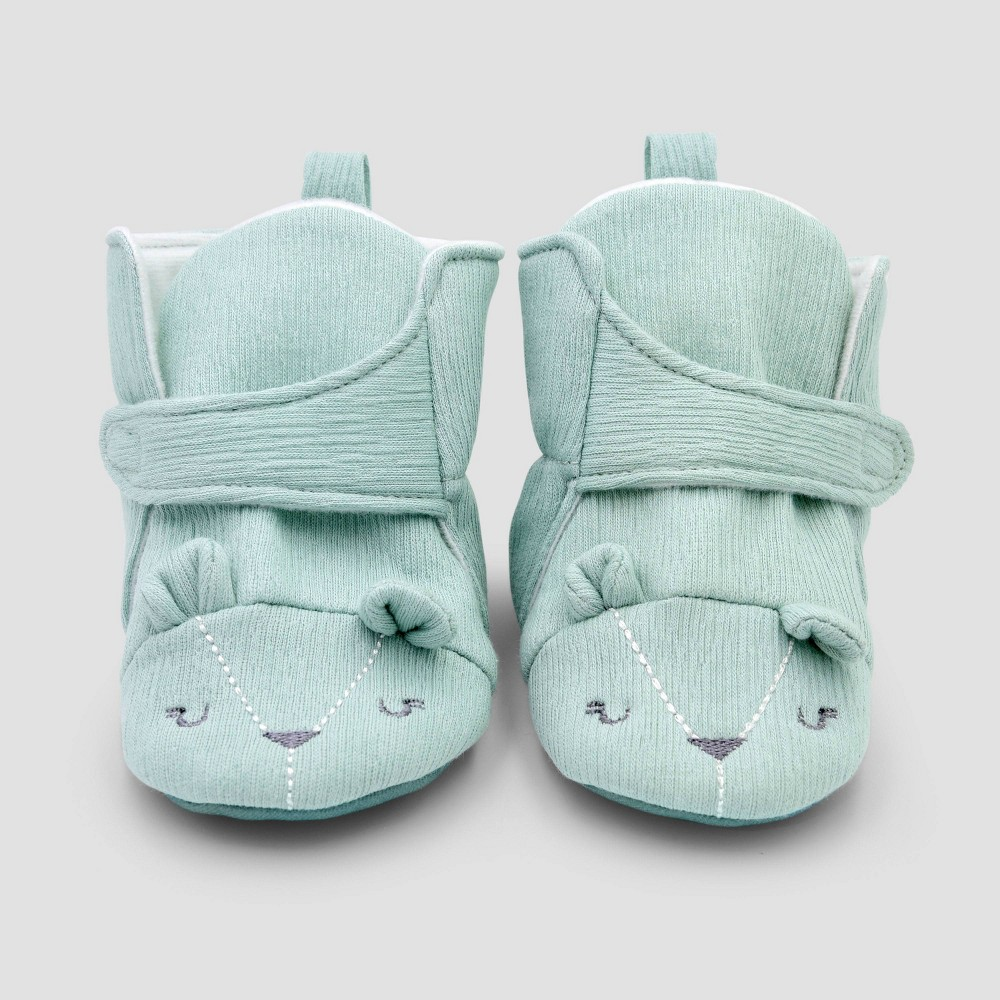 Image of Baby Boys' Constructed Bear Bootie Slippers - Cloud Island Blue 0-3M, Boy's