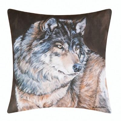 "C&F Home 18"" X 18"" Wolf Rustic Lodge Indoor/Outdoor Decorative Throw Pillow : Target"
