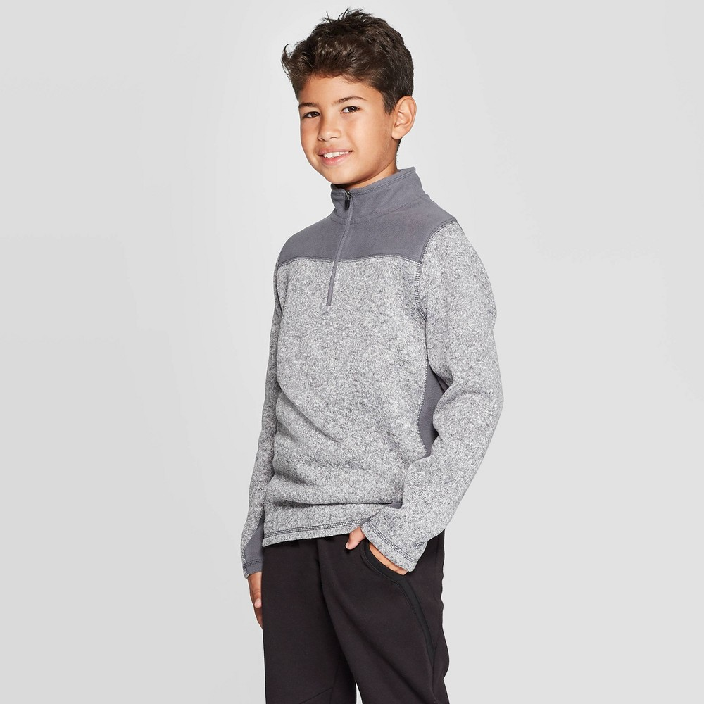 Image of Boys' Fleece 1/4 Zip Sweater - C9 Champion Charcoal Gray Heather L, Boy's, Size: Large, Grey Gray Grey