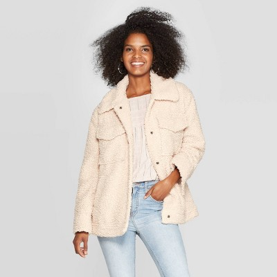 Women's Long Sleeve Sherpa Jacket With Pockets   Knox Rose™ Oatmeal by Knox Rose