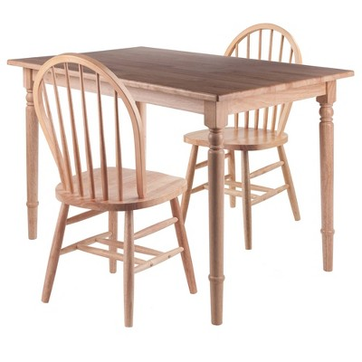 3pc Ravenna Dining Table with Windsor Chairs Natural - Winsome