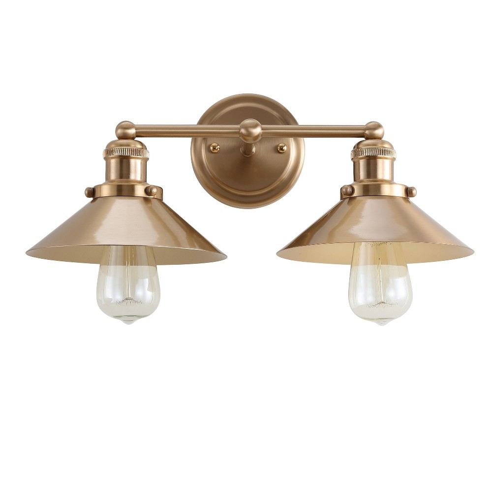 "Image of ""17.5"""" June 2 Light Metal Vanity Wall Light Brass - JONATHAN Y, Size: 17.5"""" 2 Light"""