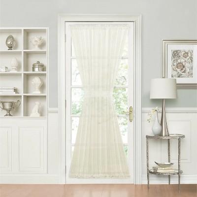 GoodGram Batiste Sheer French Door Curtain Panel W/ Tieback